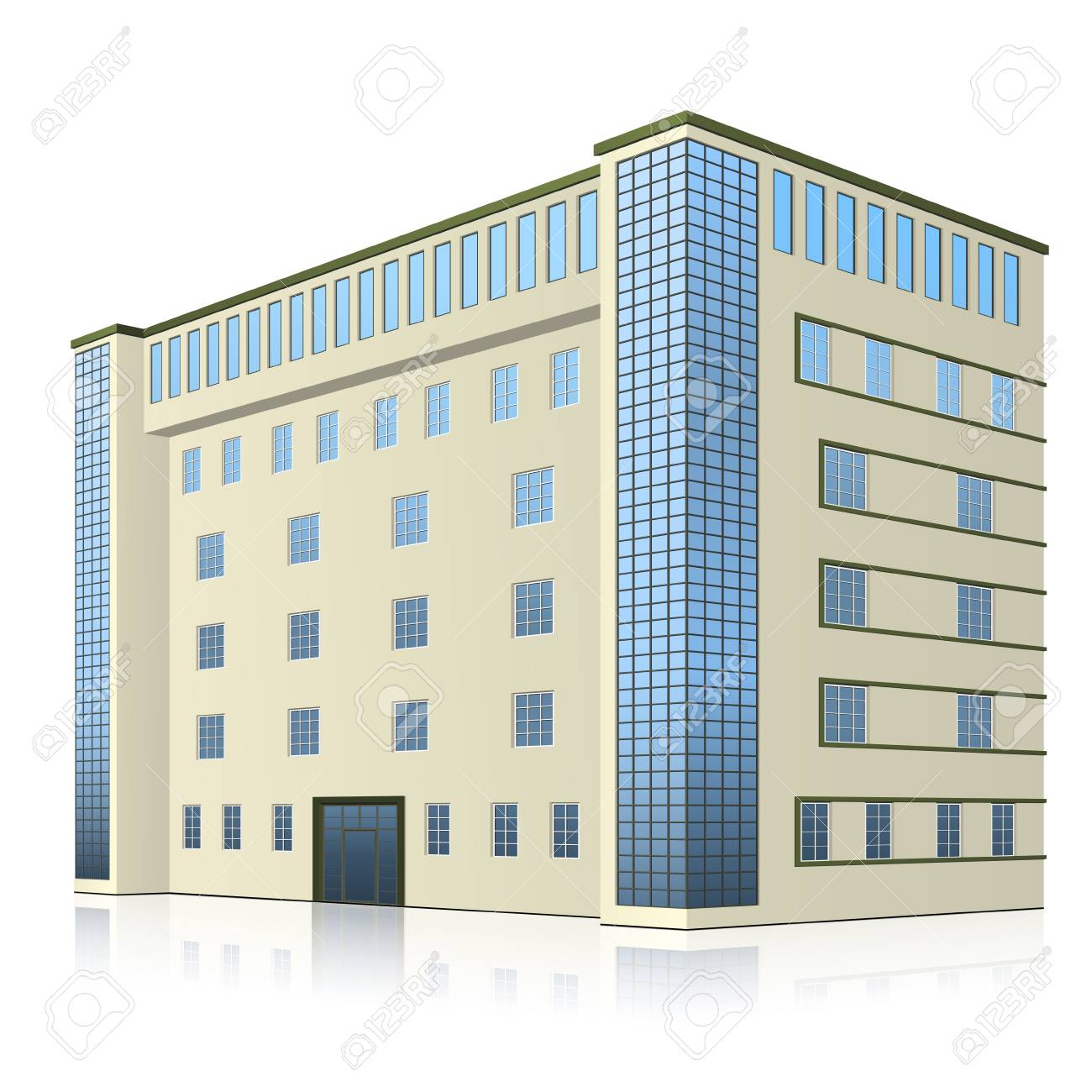 office building with entrance and reflection on white background - 126912796