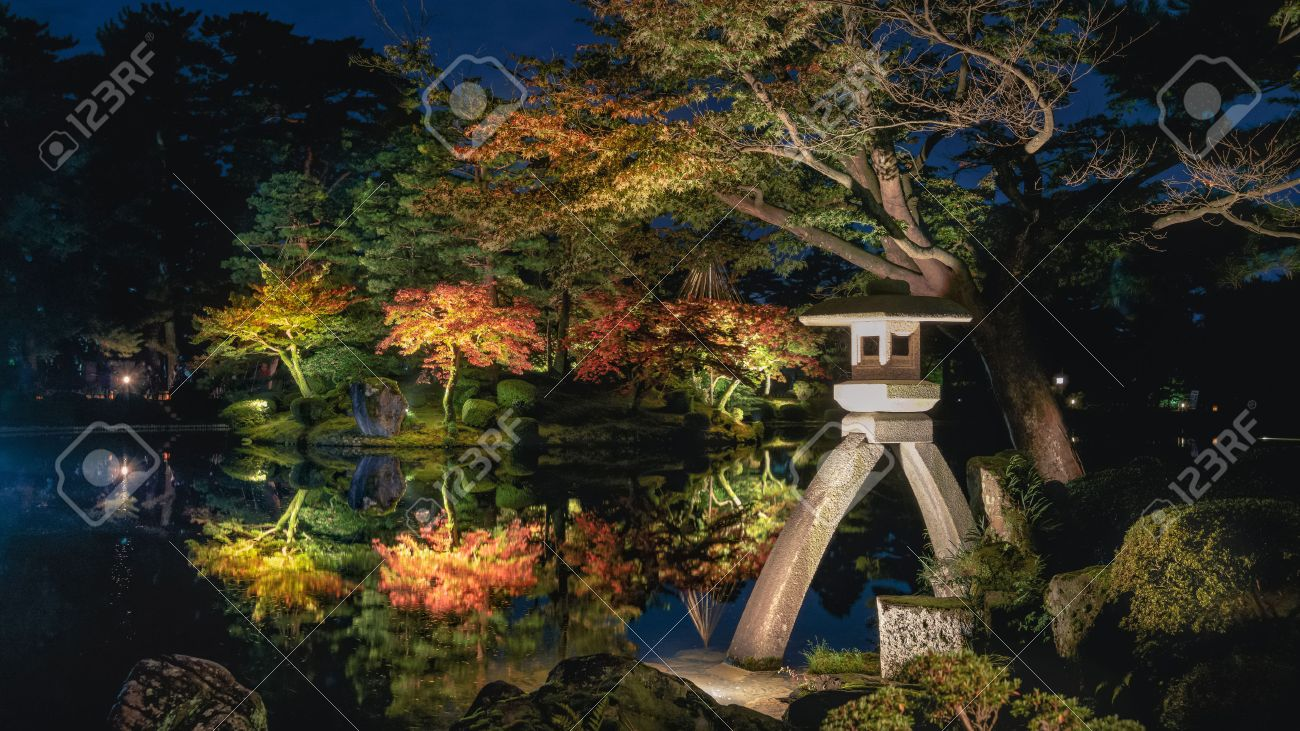 Beautiful Autumn Scenery Of Japanese Garden At Night Stock Photo
