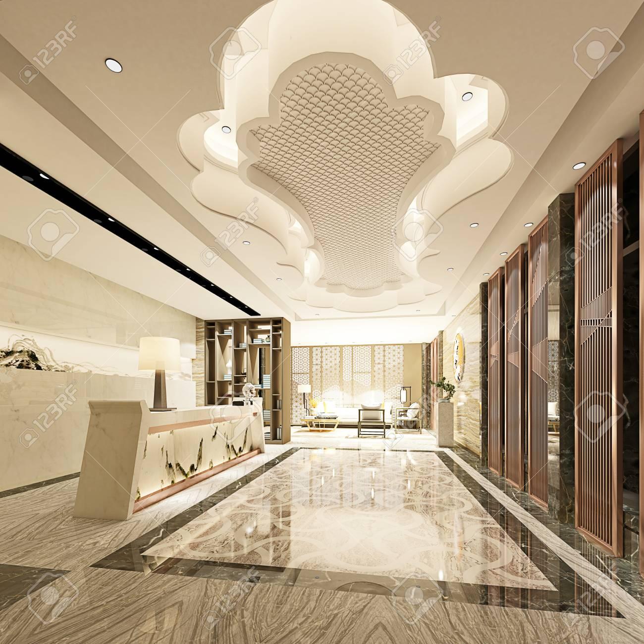 3d rendering luxury hotel lobby reception