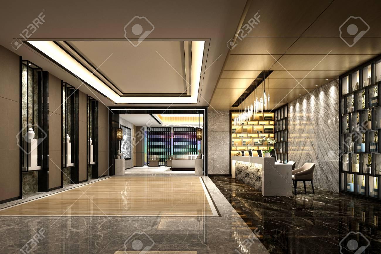 3d render luxury hotel lobby entrance