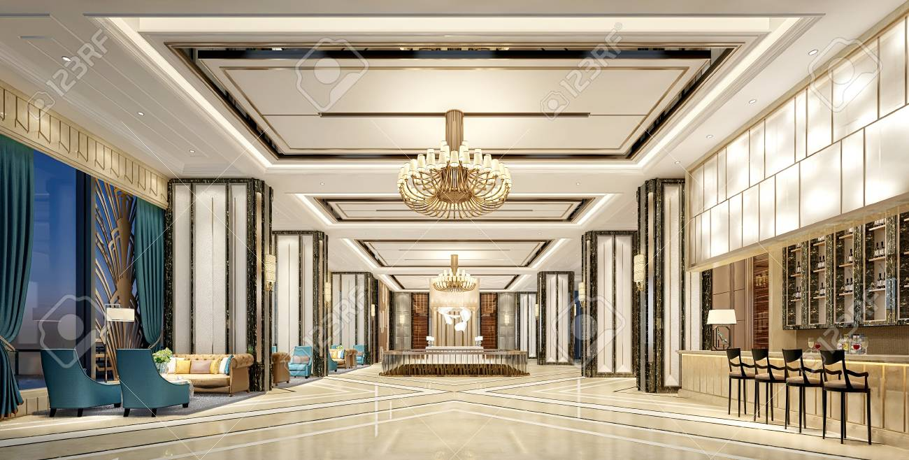 3d render luxury hotel lobby entrance