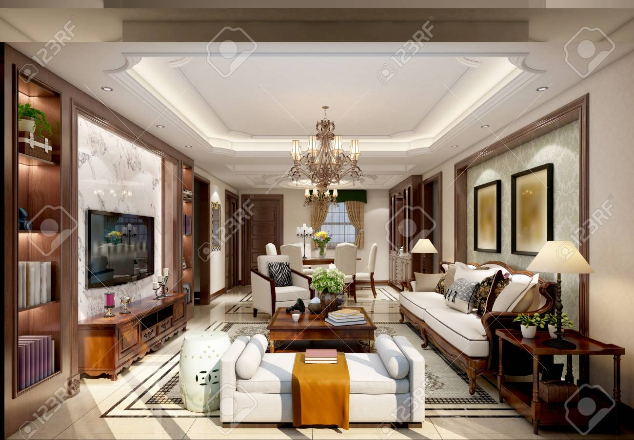 3d render asian style living room