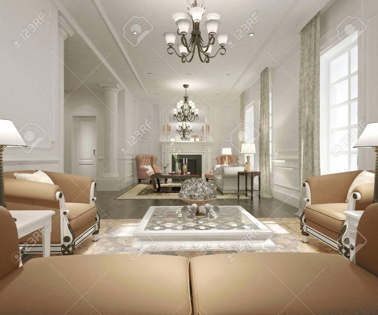 3d render of modern living room - 131083411