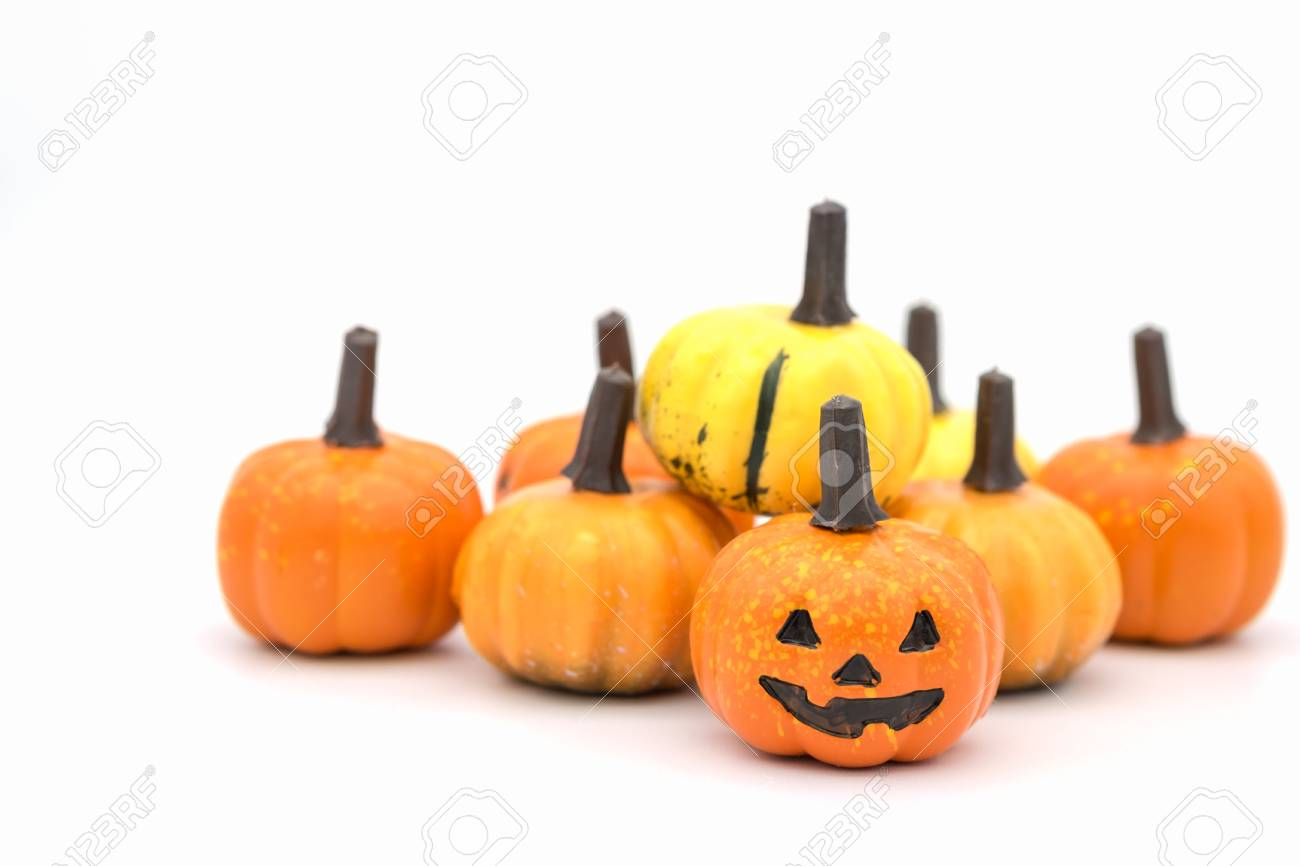 Halloween Concept Small Jack O Lantern Pumpkins Toy On White Stock Photo Picture And Royalty Free Image Image 89345807