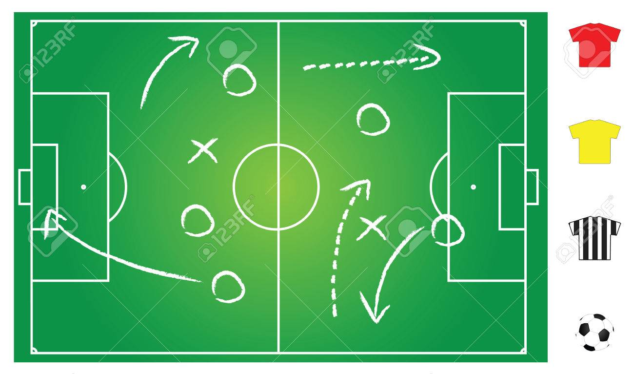 Soccer Or Football Field Layout For Strategy Explanation Royalty Free Cliparts Vectors And Stock Illustration Image 6910392