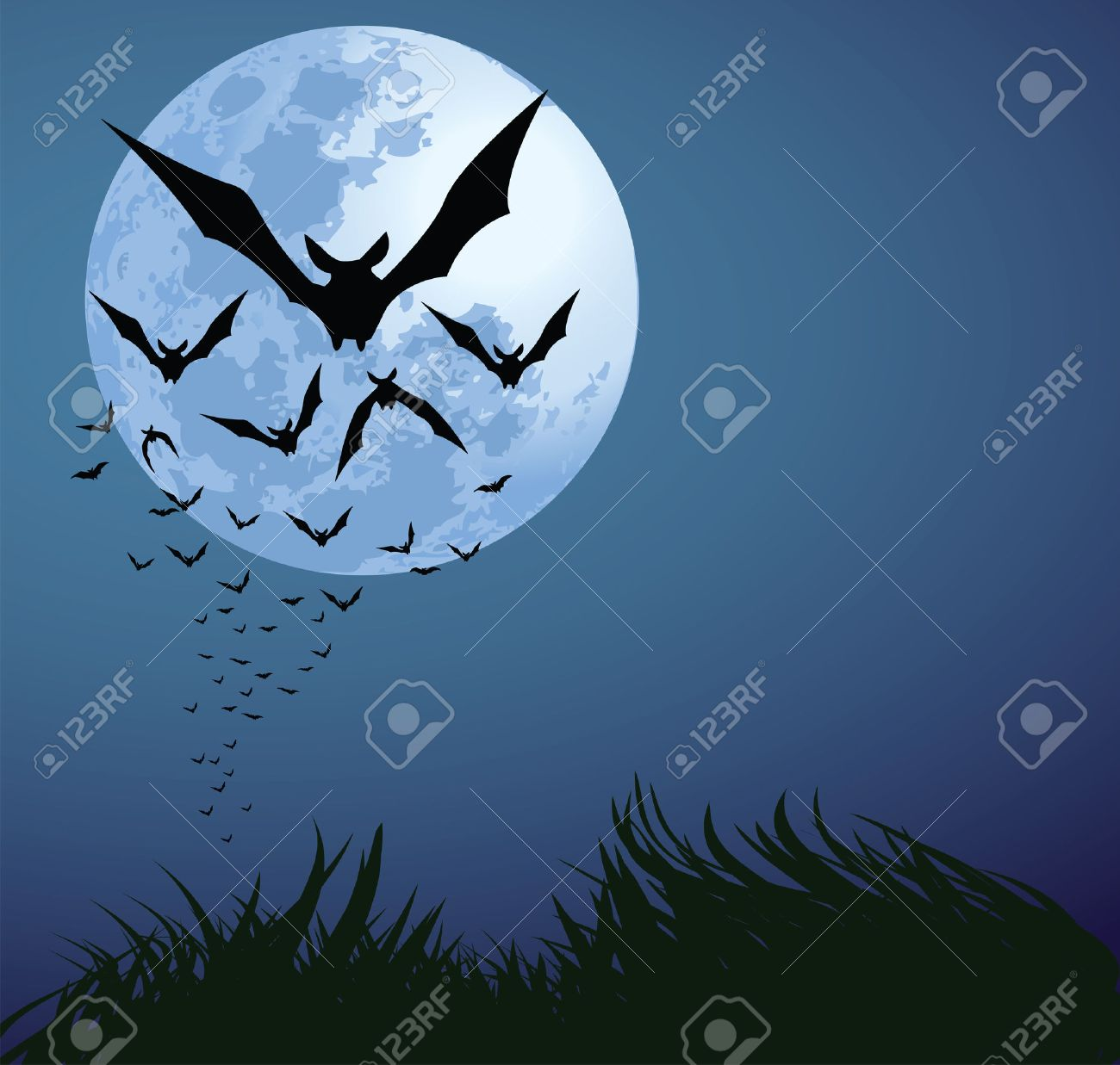 illustrations of halloween night with bats flying over blue moon Stock Vector - 7725230