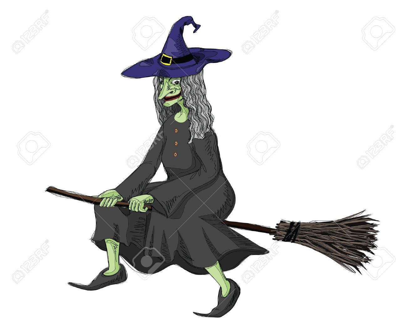 illustration of witch, riding on a broomstick. Stock Vector - 8005999