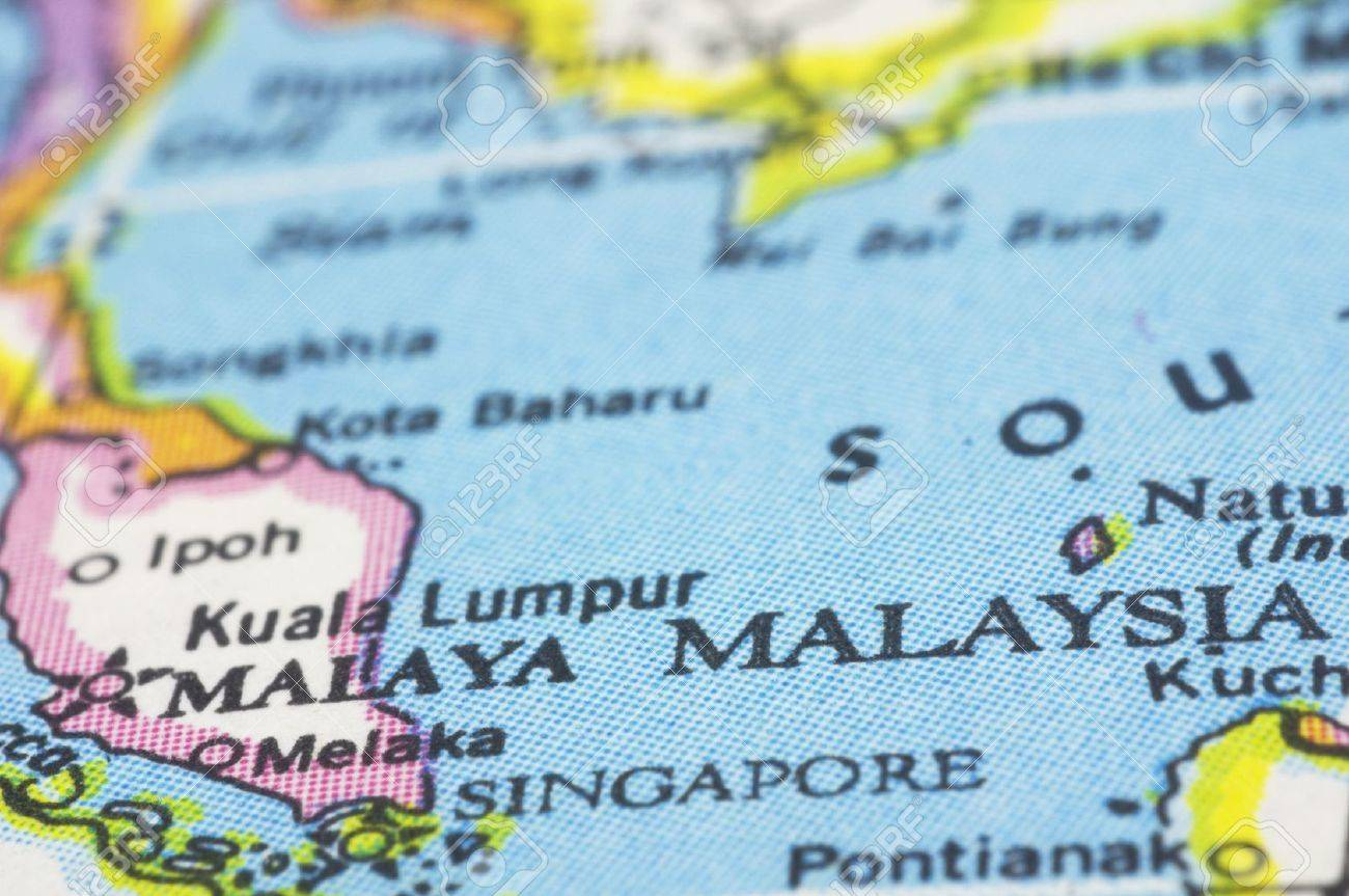 The Map Of Southeast Asia.Malaysia Close Up On Map Southeast Asia Countries Stock Photo