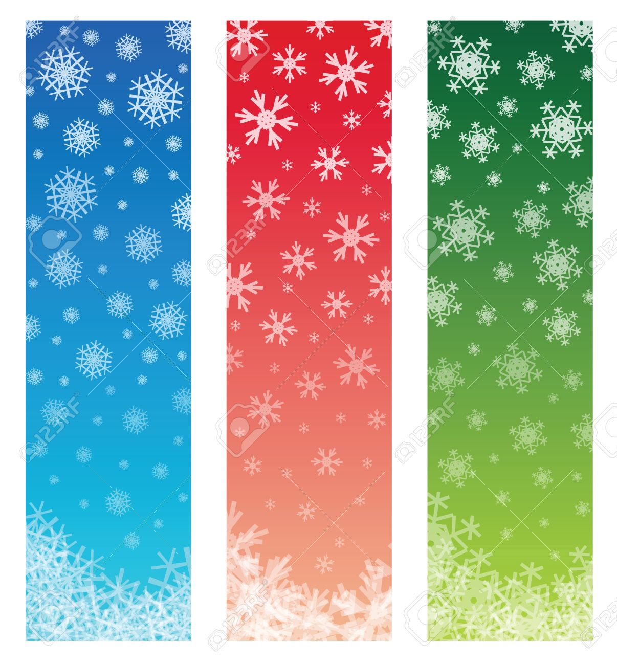 Christmas Banners With Fading Snowflakes, 3 Colors. Standard ...