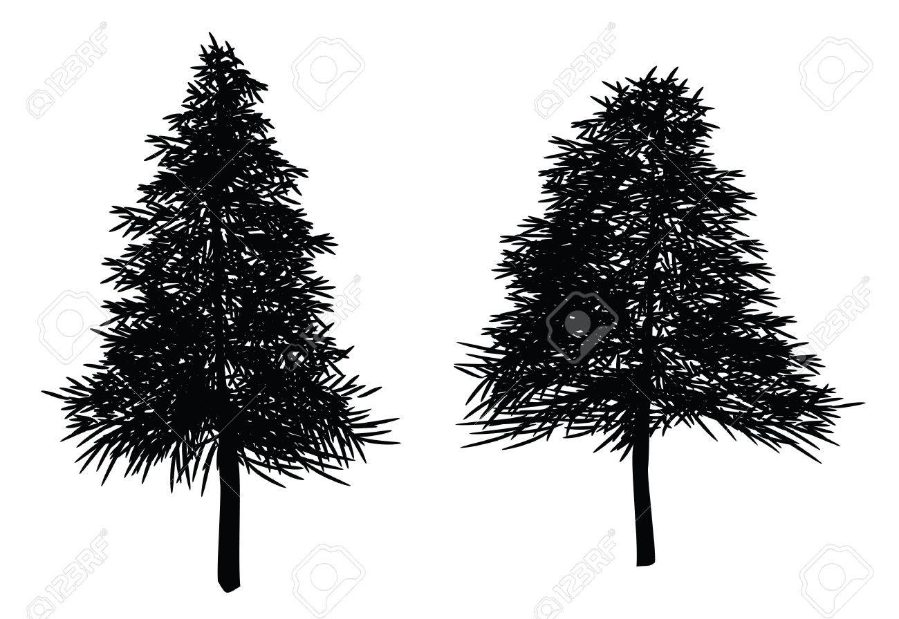 illustrations of christmas trees, fir tree. leaves can be re-arranged. Stock Vector - 8476591
