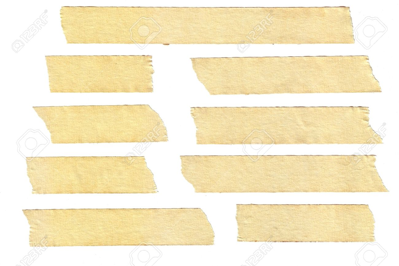 Masking Tape Textures With Varied Length, Isolated On White,.. Stock ...