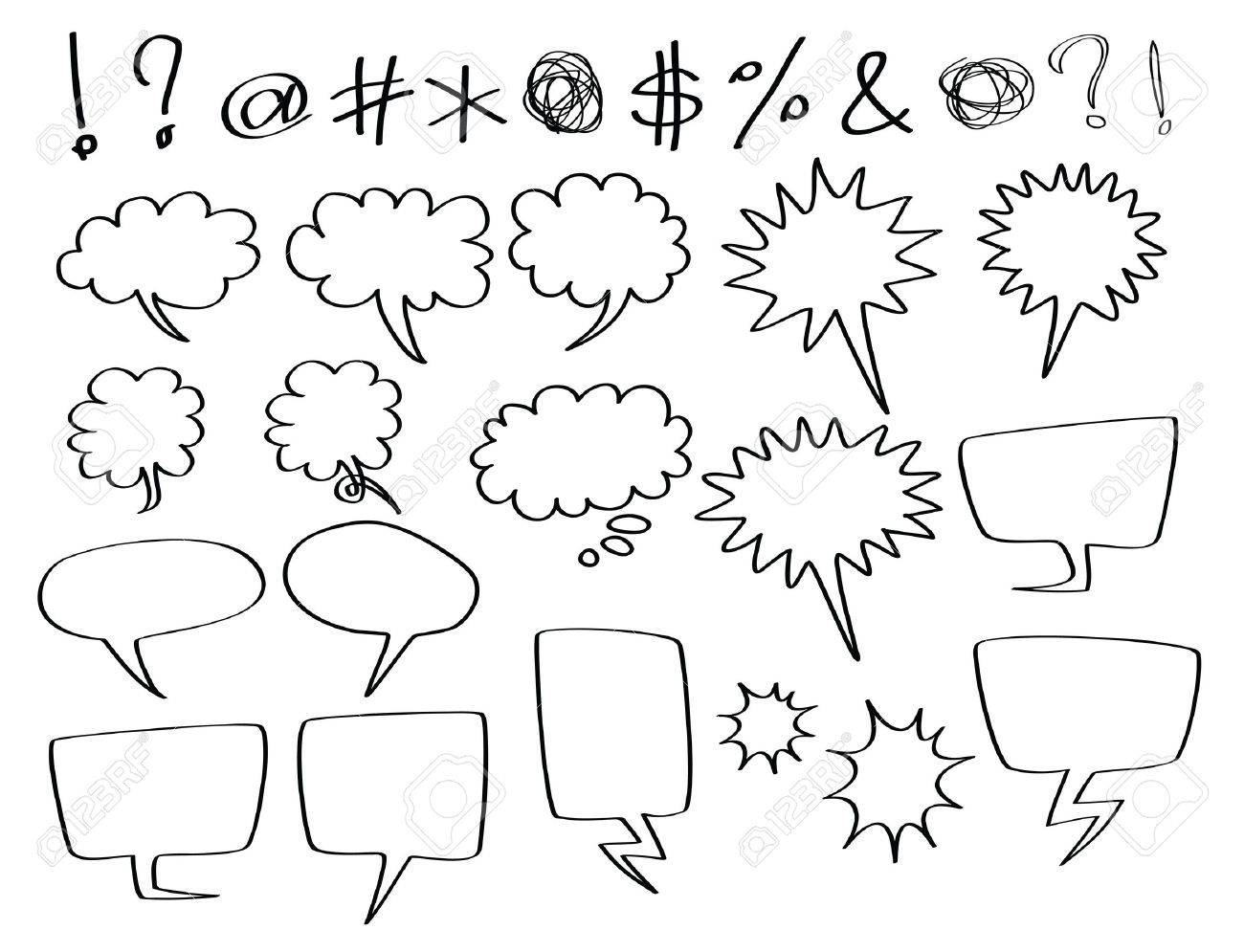 hand-drawn speech and thought bubbles, in comic style. Stock Photo - 8957431