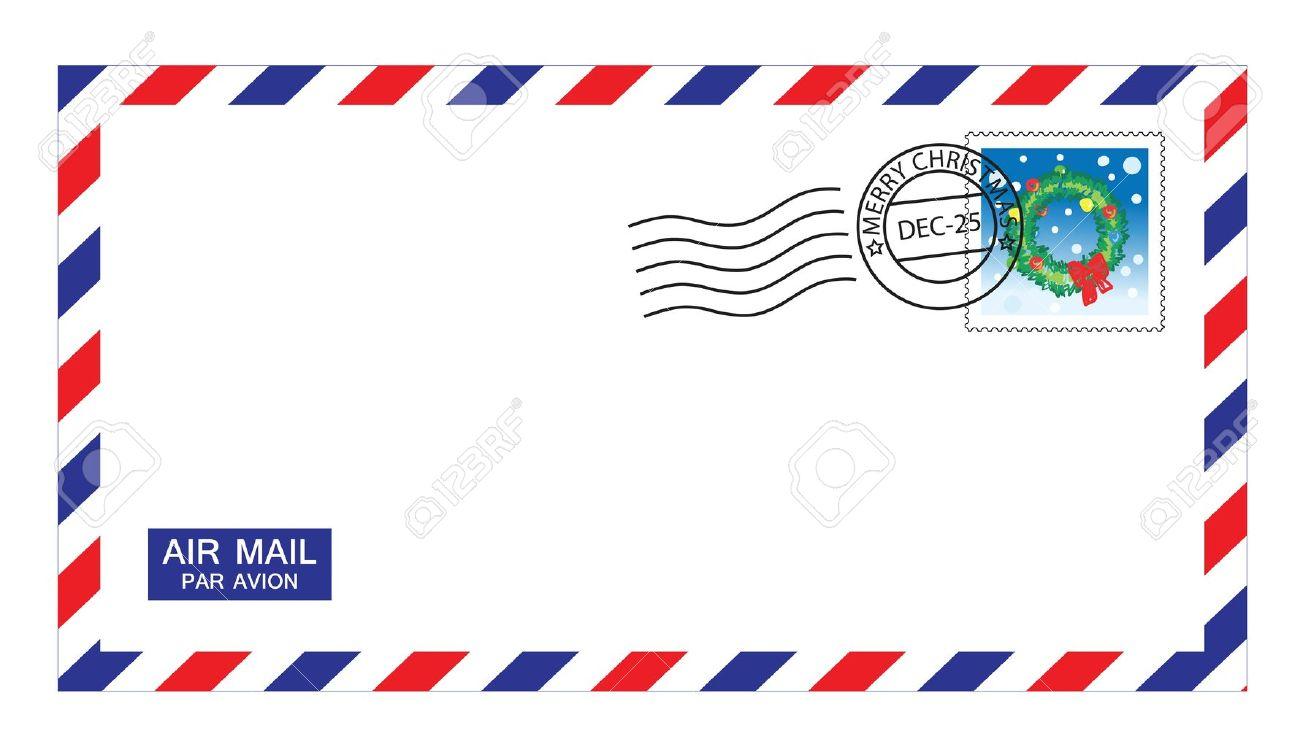クリスマスのスタンプおよび郵便郵便封筒のイラストをマークします