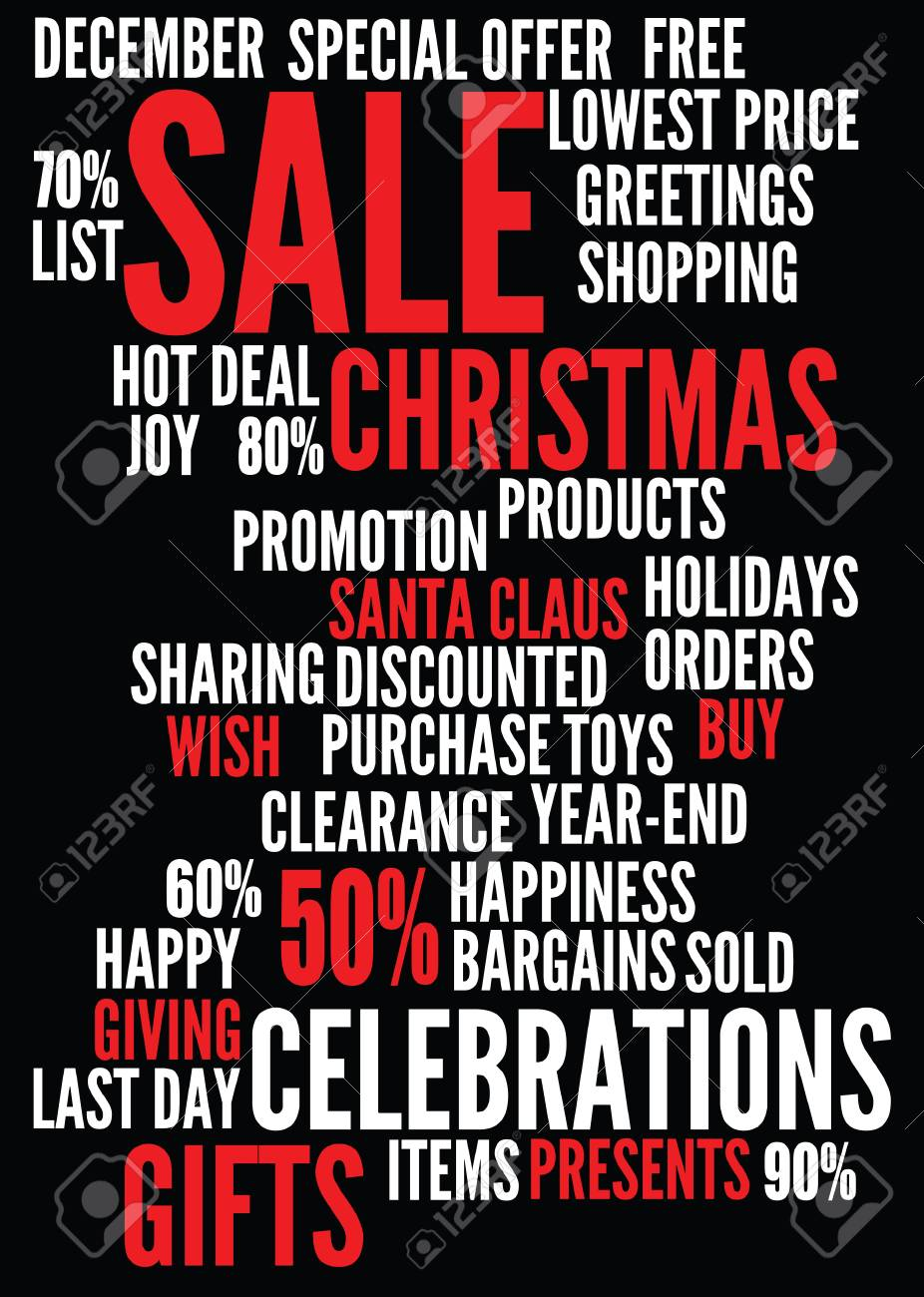 christmas sale background with montages of keywords. - 9944858