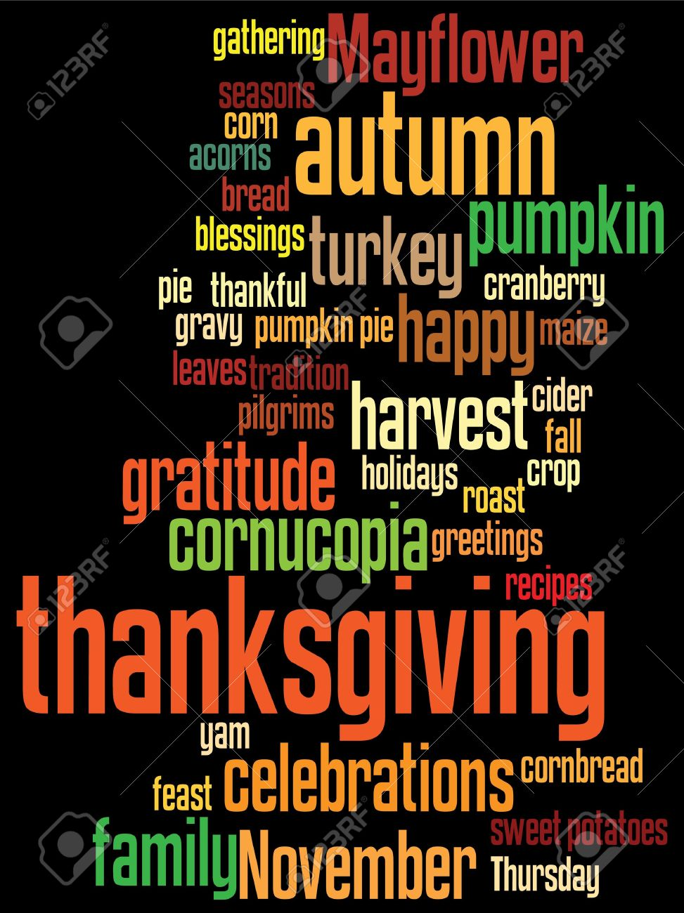 Thanksgiving Background With Random Layout Of Thanksgiving Words