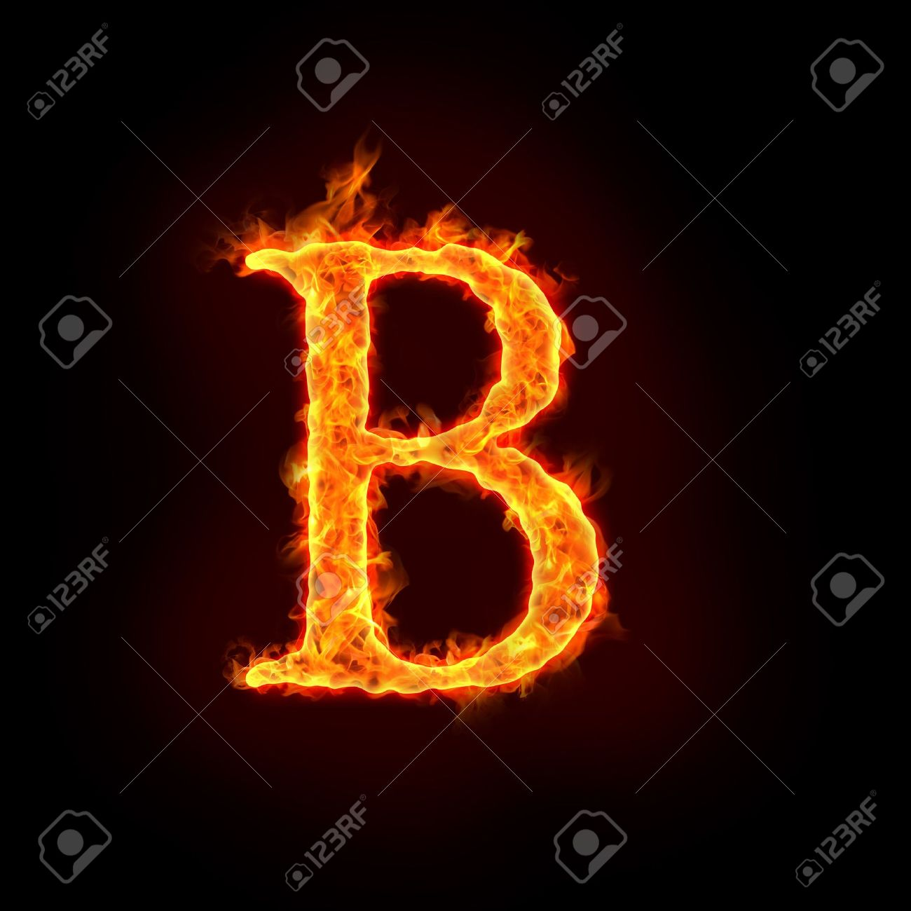 fire alphabets in flame, letter B Stock Photo - 10232890