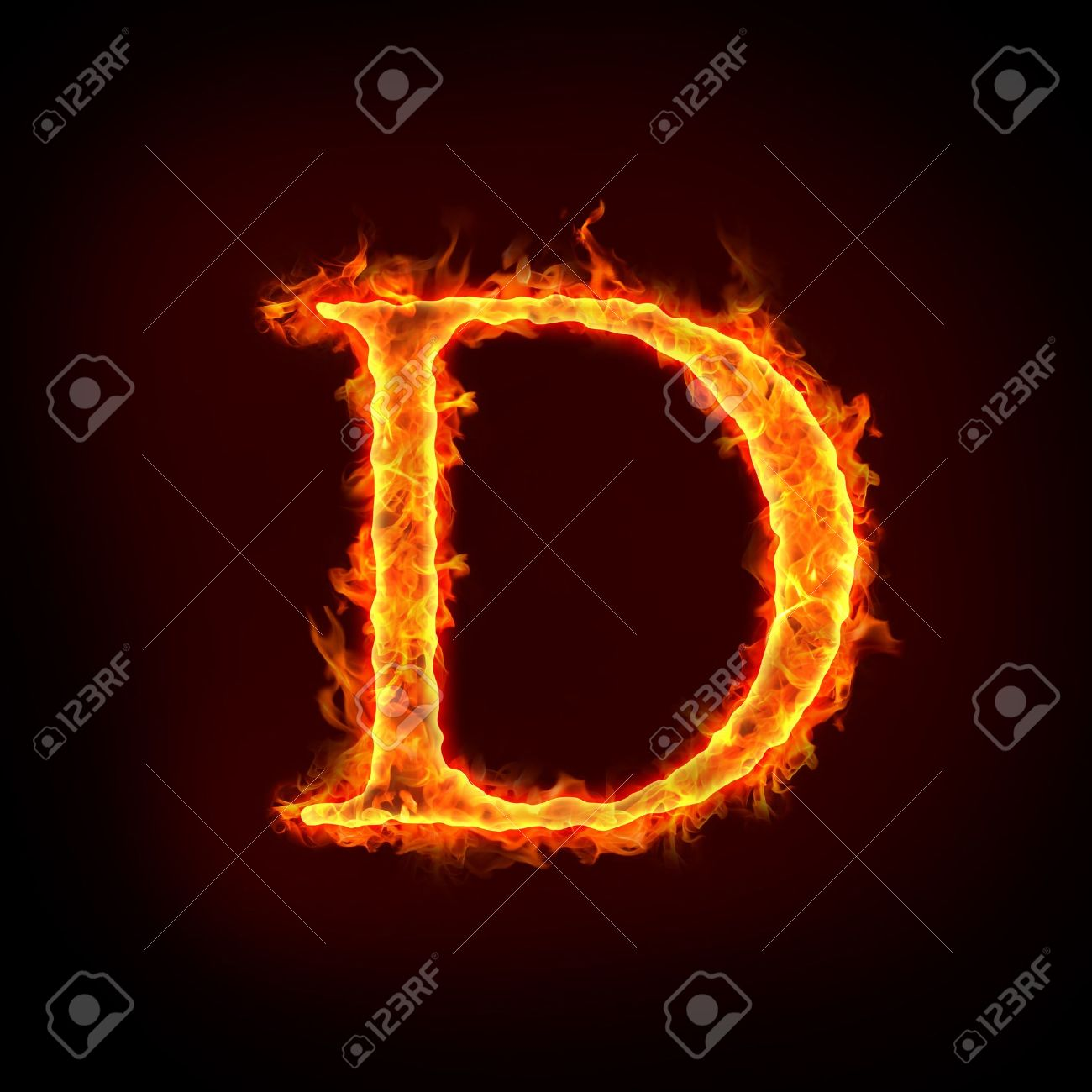 Fire Alphabets In Flame, Letter D Stock Photo, Picture And Royalty