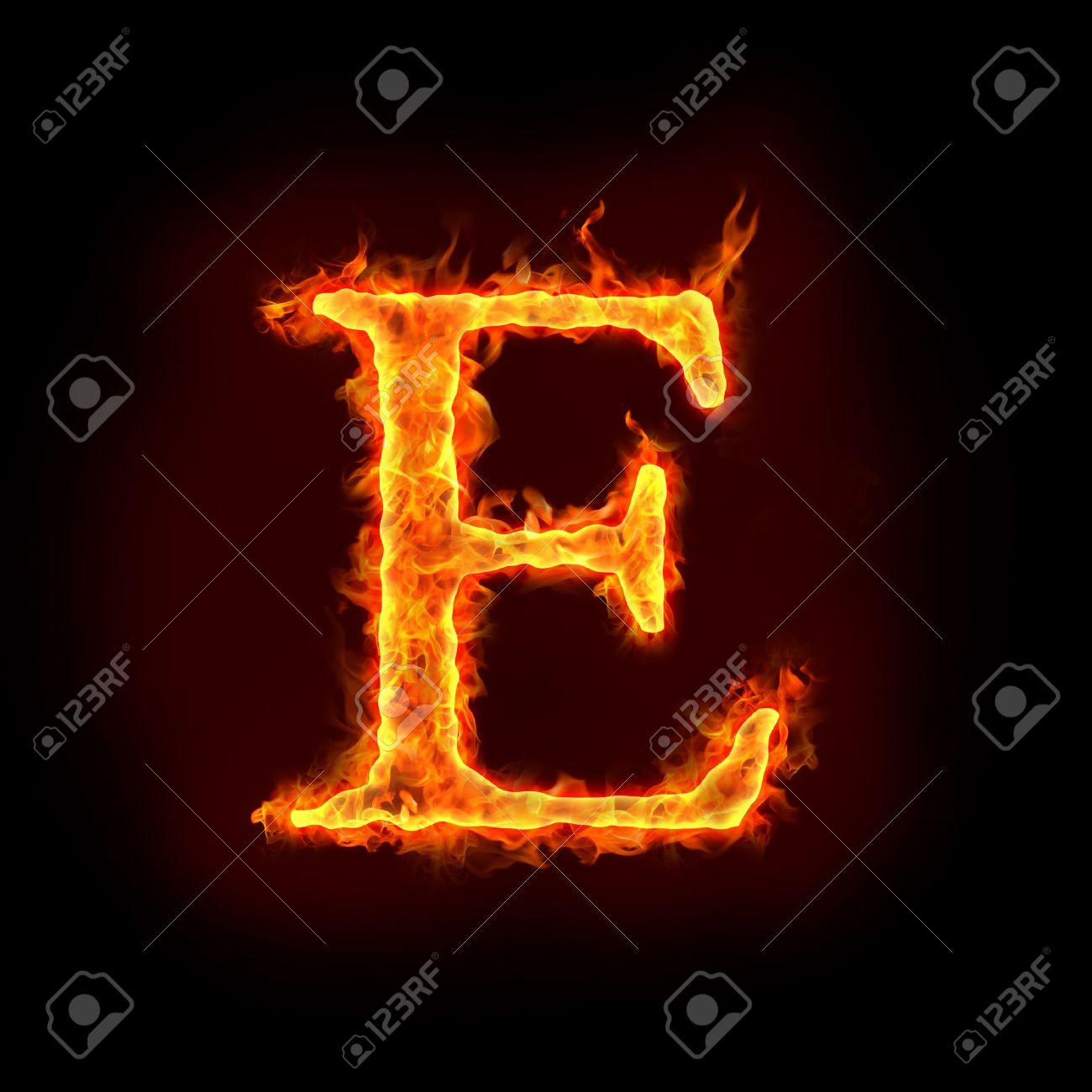 fire alphabets in flame, letter E Stock Photo - 10232901