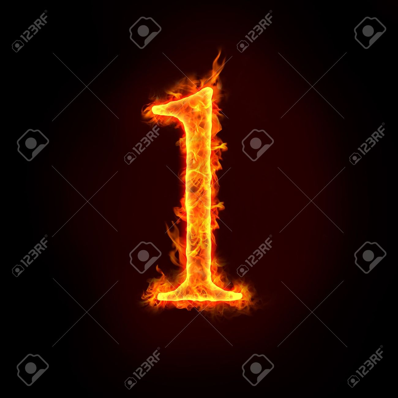 a series of fire numbers in flame, 1 or one Stock Photo - 10285656