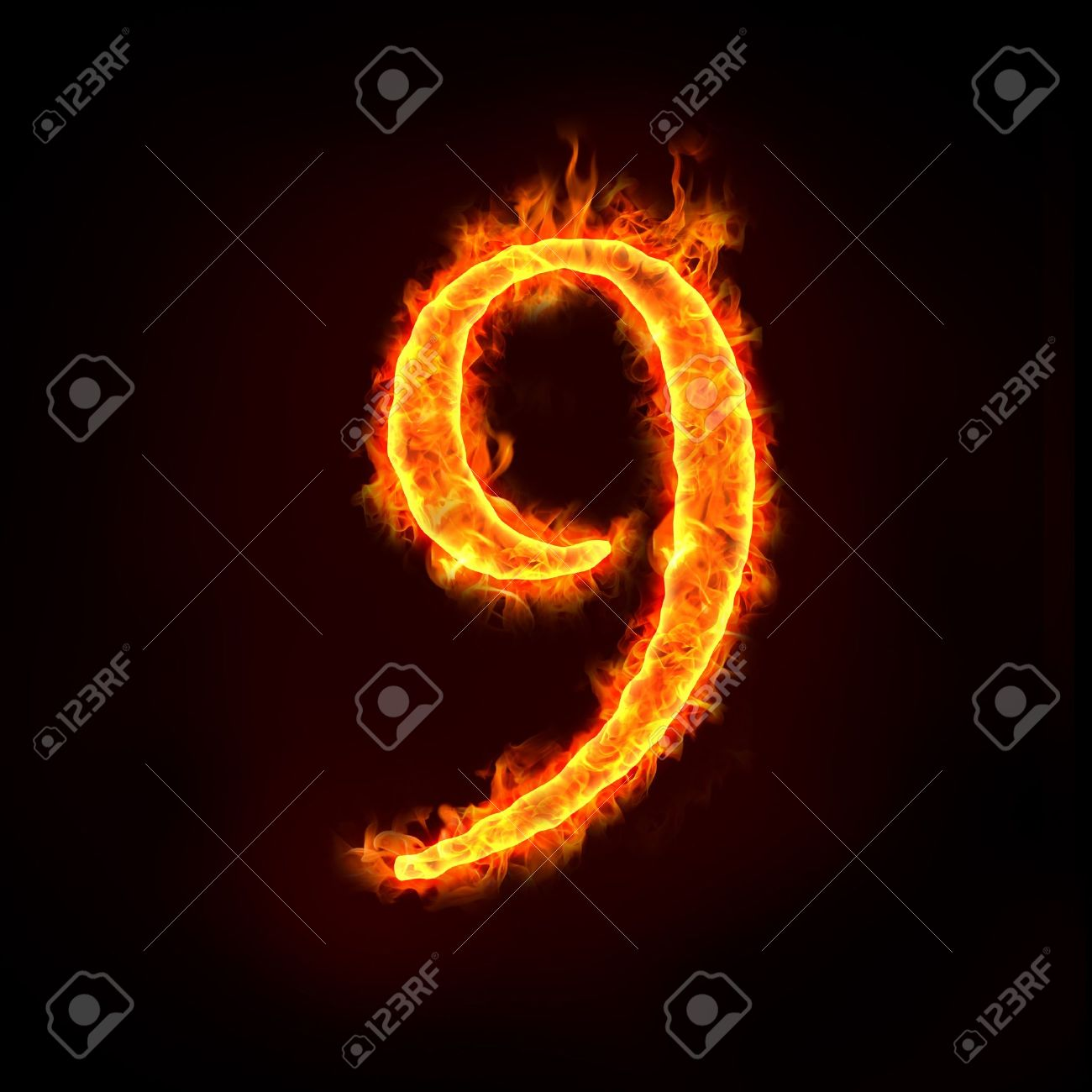 a series of fire numbers in flame, 9 or nine. Stock Photo - 10285665