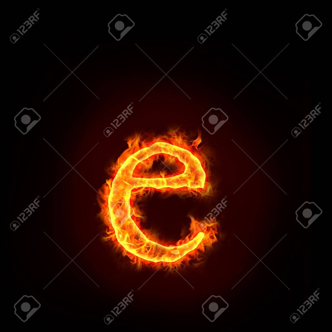 fire alphabets in flame, small letter e Stock Photo - 10389705