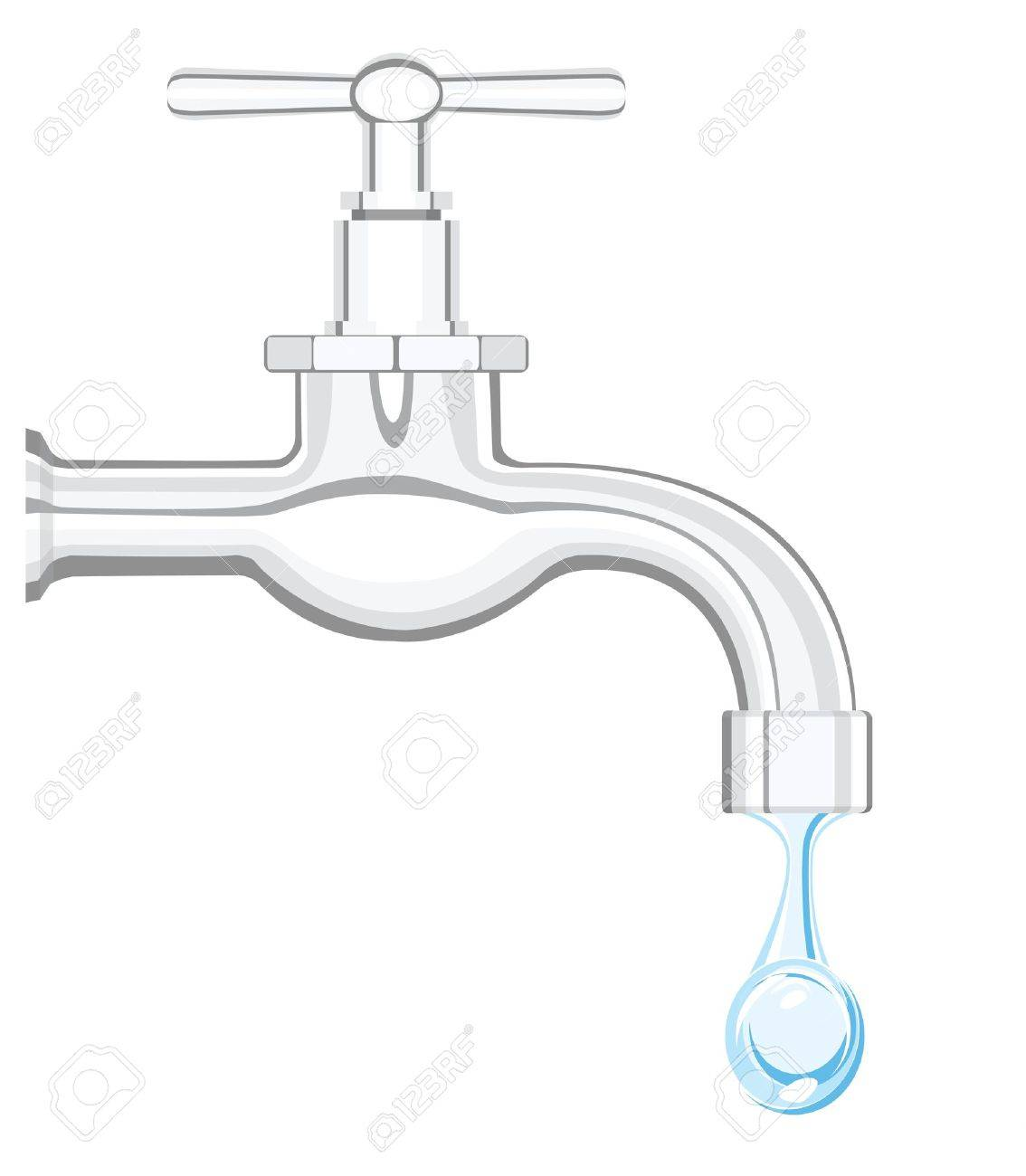 a water tap with realistic flowing water, on a white background Stock Vector - 10462174