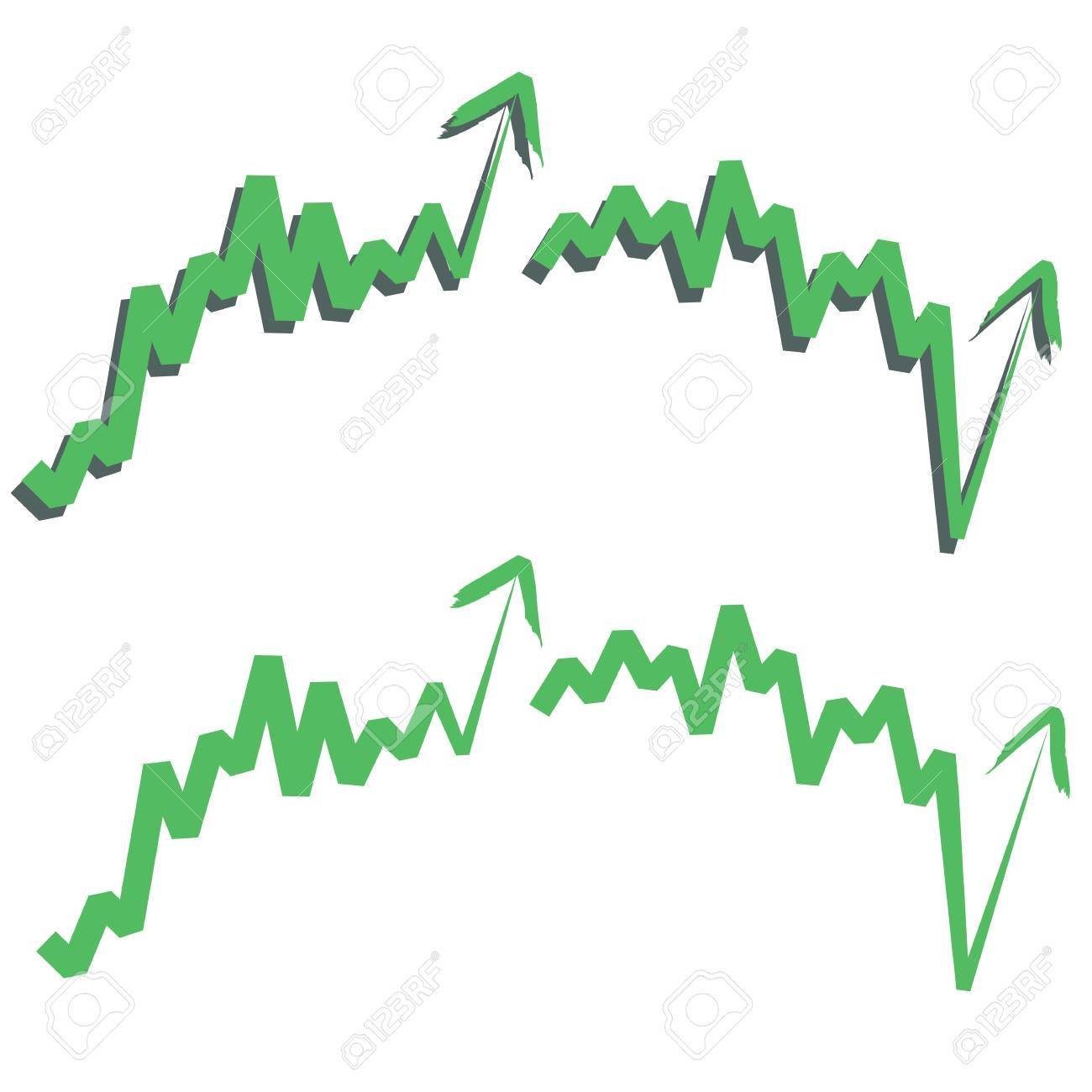 stocks index upward arrow, indicate rising and rebounds. Isolated on white. Please check my profile for downward arrow. Stock Vector - 10598949