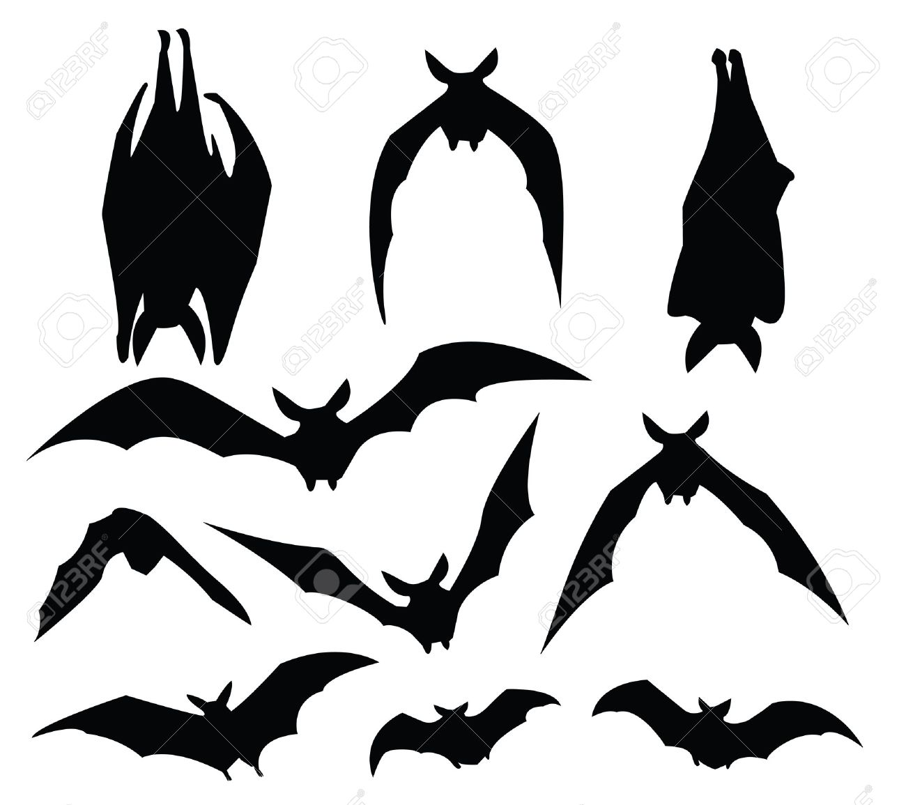 bat silhouette of various movement, for design usage. Stock Vector - 10599165