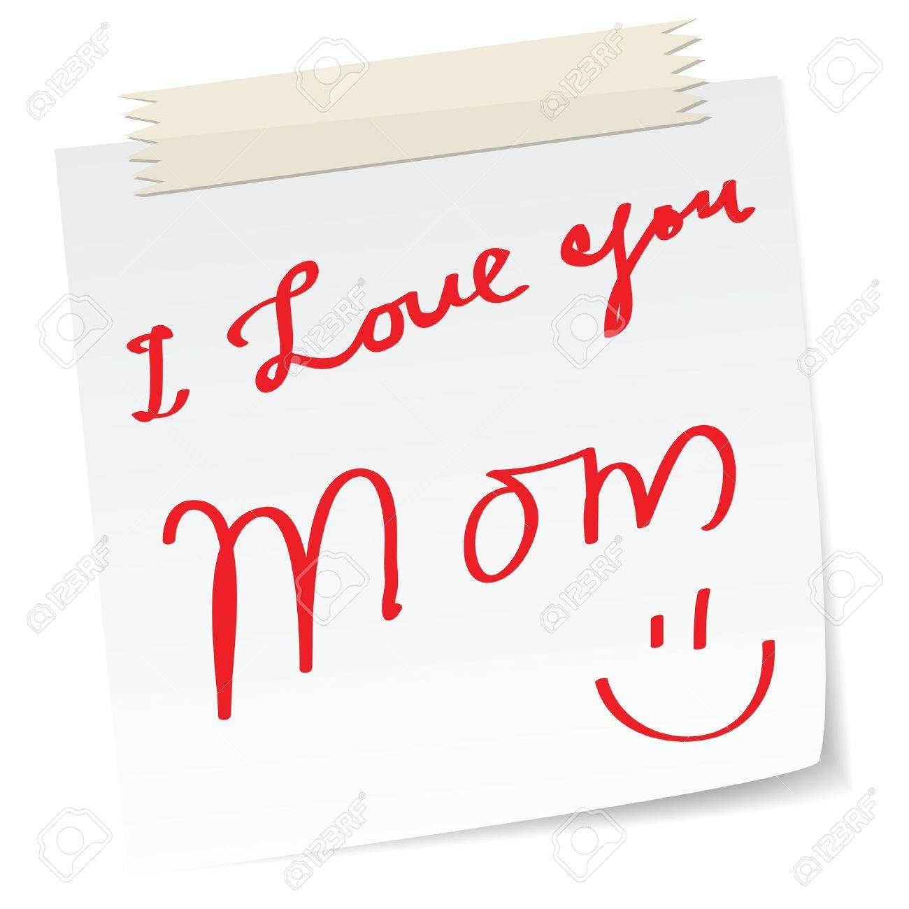 mother day greetings on a paper notes, with handwritten message. Stock Vector - 11088971