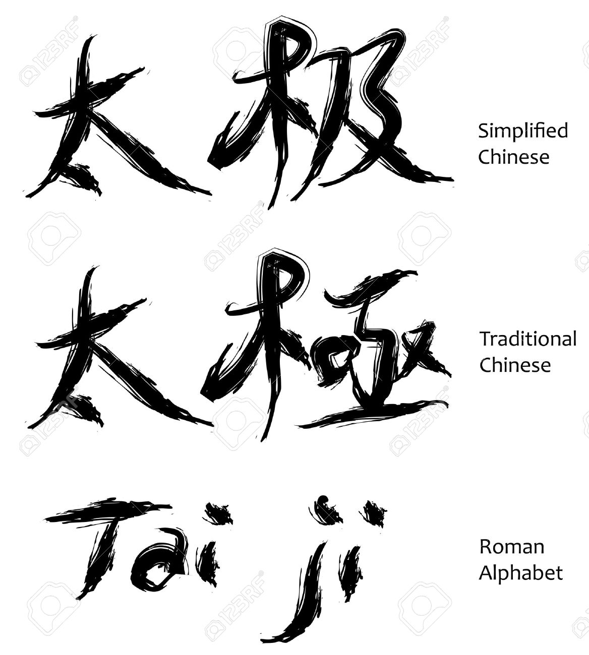 Tai Ji Or Tai Chi Chinese Characters In Calligraphy It Is A