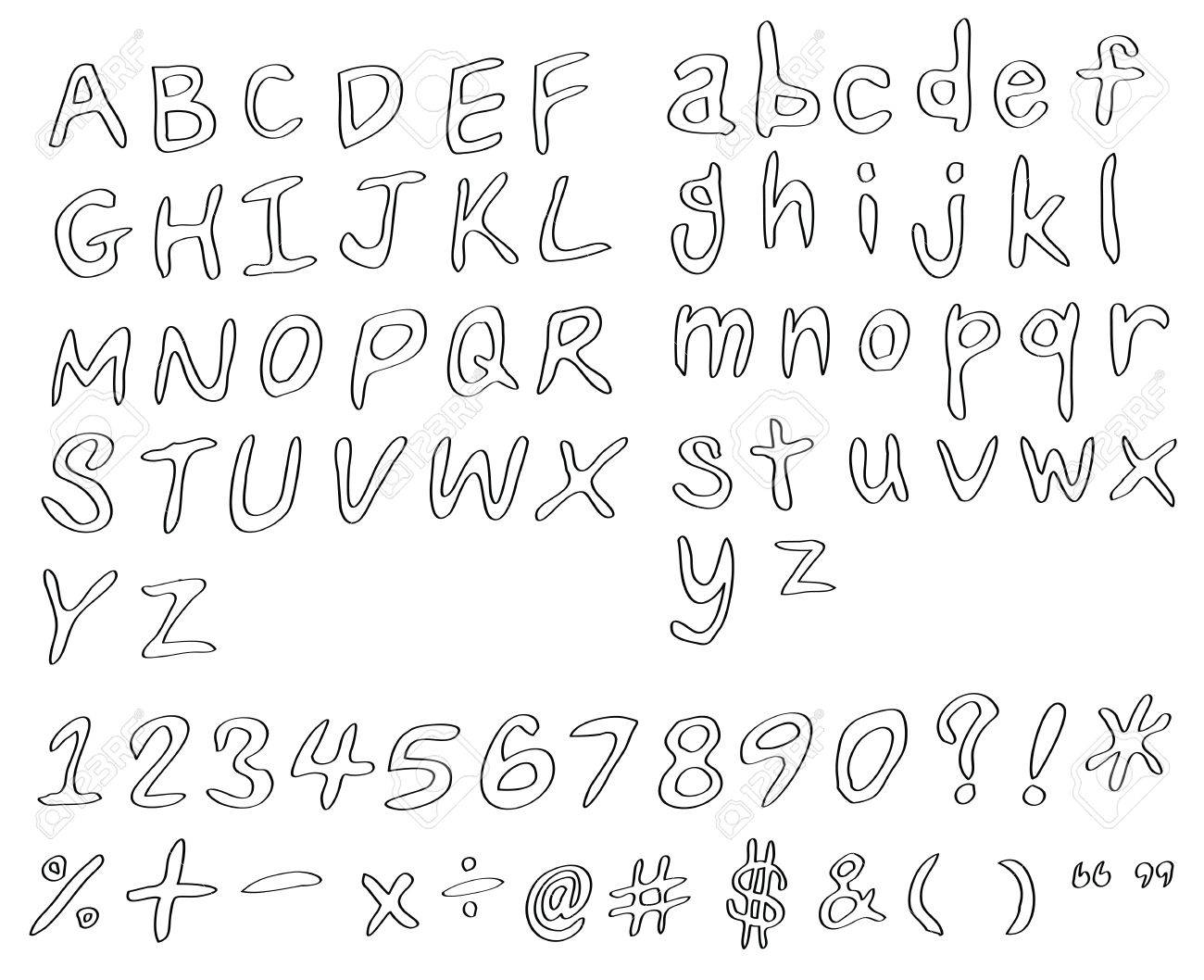 Set Of Handwritting Alphabets Numbers And Symbols As Pencil