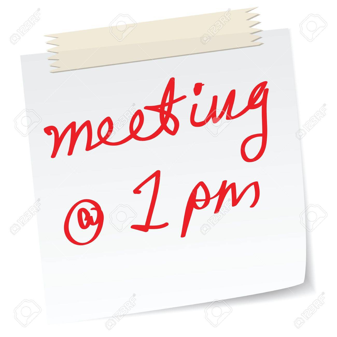 A Handwritten Notes With Meeting Appointments Time Royalty Free ...