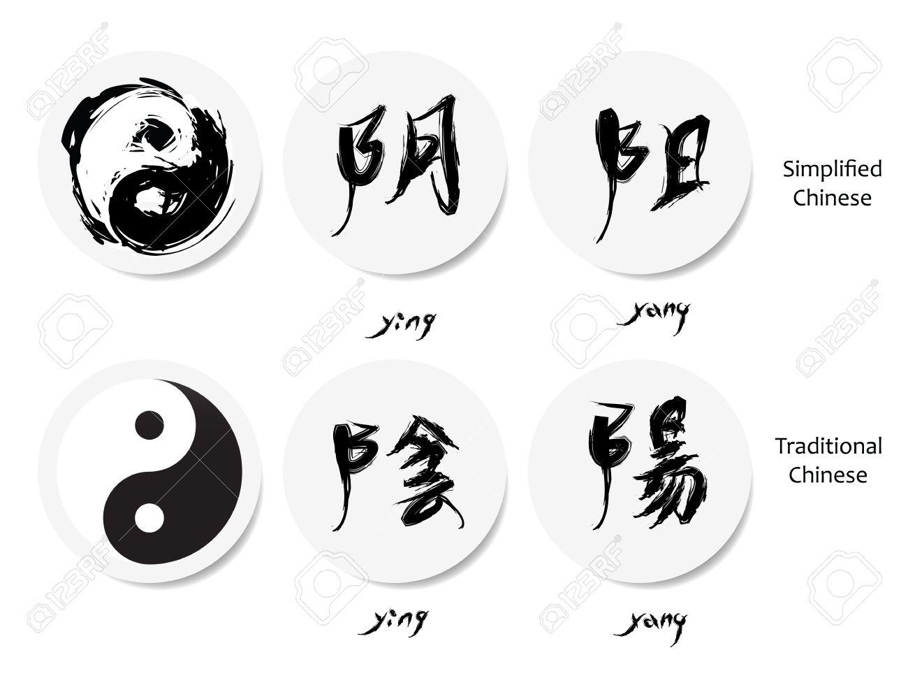 Yin-Yang-Symbol Und Chinesische Schriftzeichen, Orientalische ...