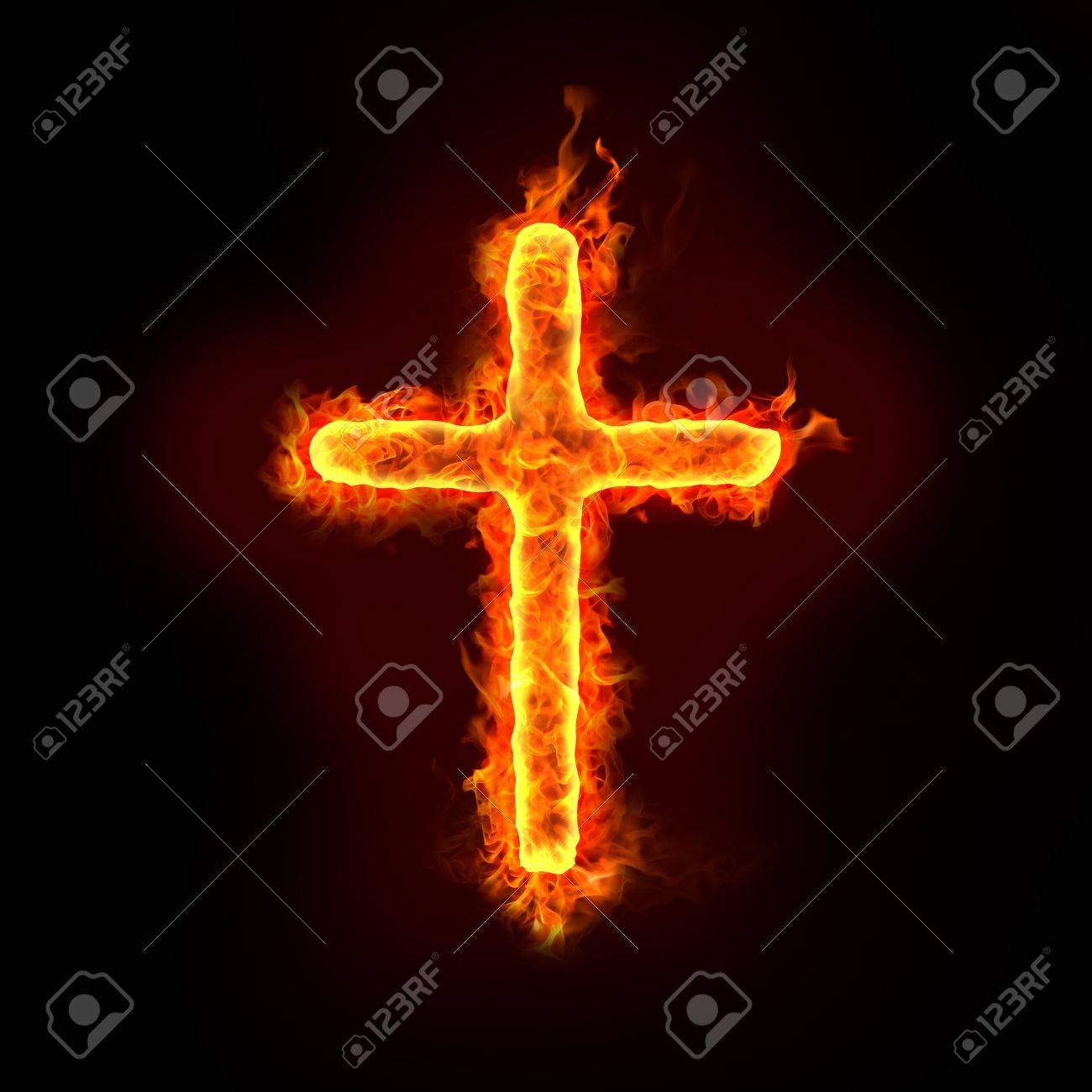 a burning christian cross sign with flames, for religion concepts Stock Photo - 11821109