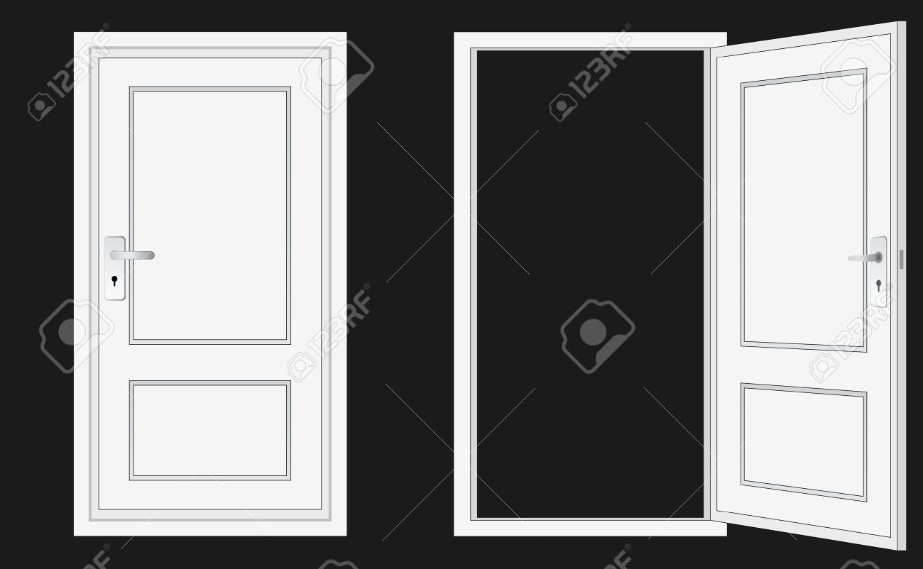 Open door closed door - Opened And Closed Door For Conceptual Usage Stock Vector 11821708