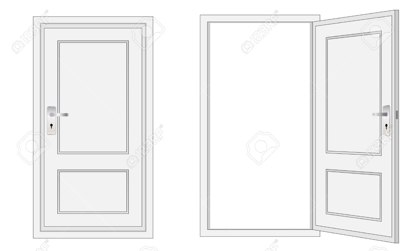 Open door closed door - Opened And Closed Door For Conceptual Usage Stock Vector 11821845
