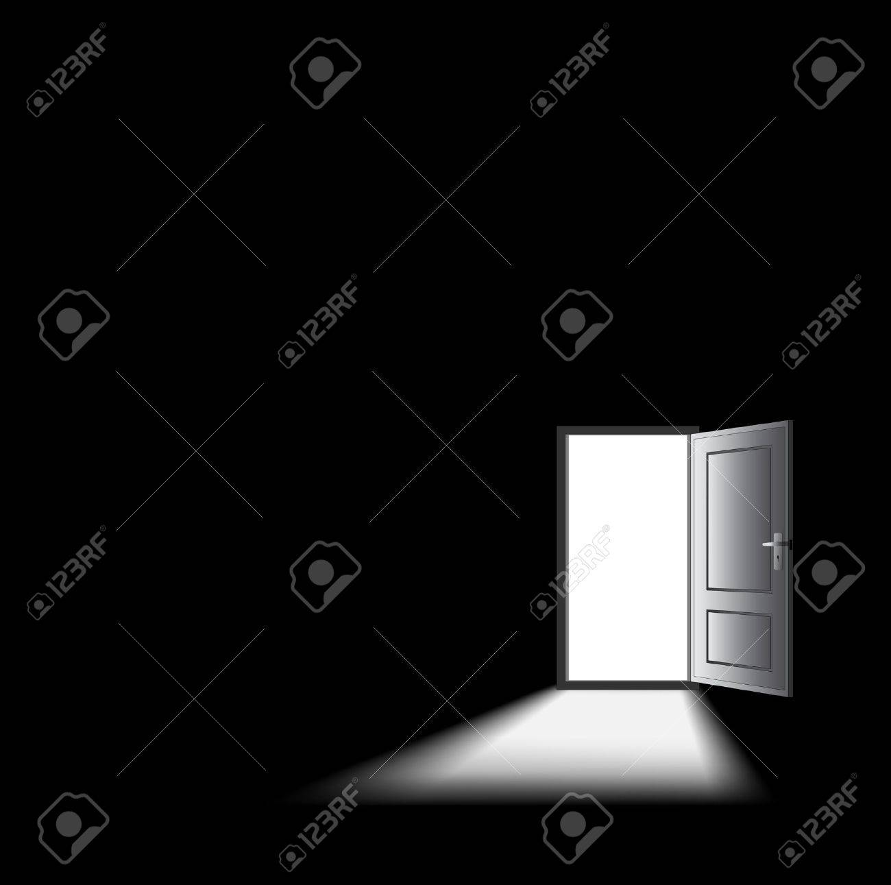opened door with light coming in, mysterious concept. Stock Vector - 11822922