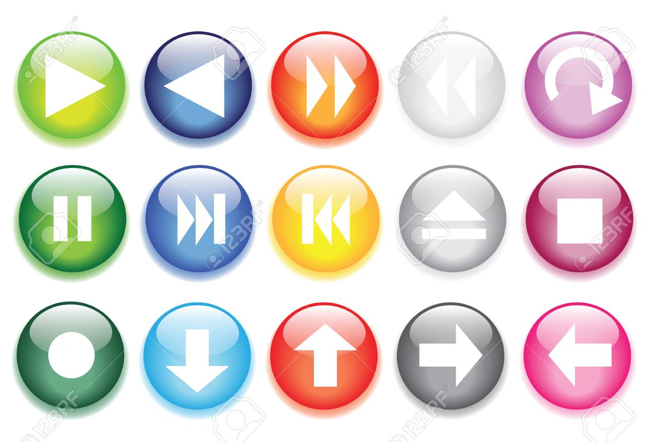 vector illustrations of glossy glass buttons for icons. Stock Vector - 11823275