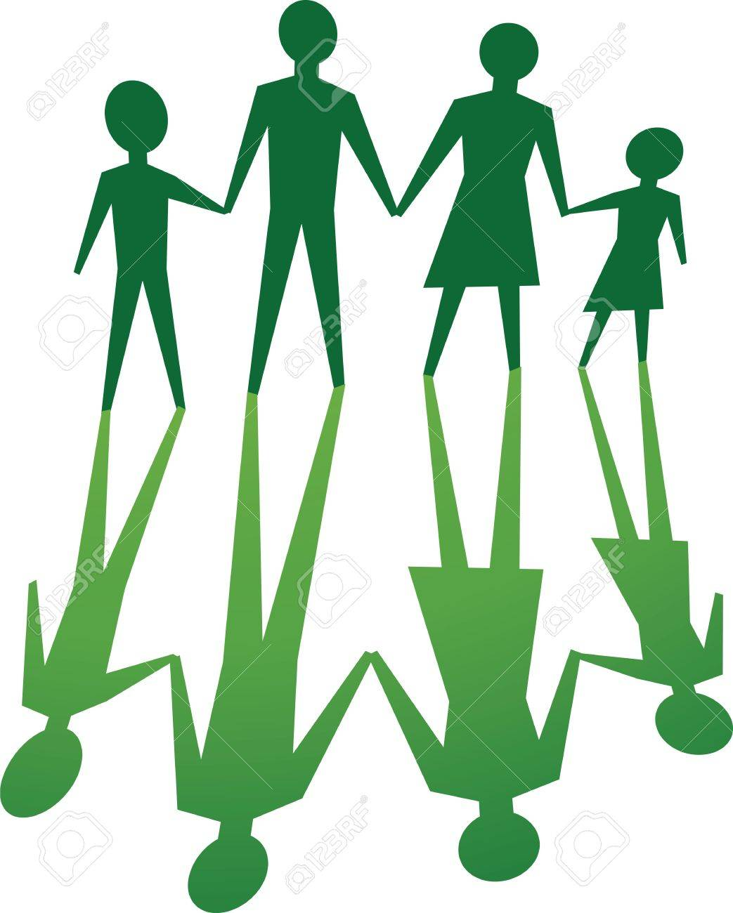 Silhouette Of Family, In Green Tone. Royalty Free Cliparts ...
