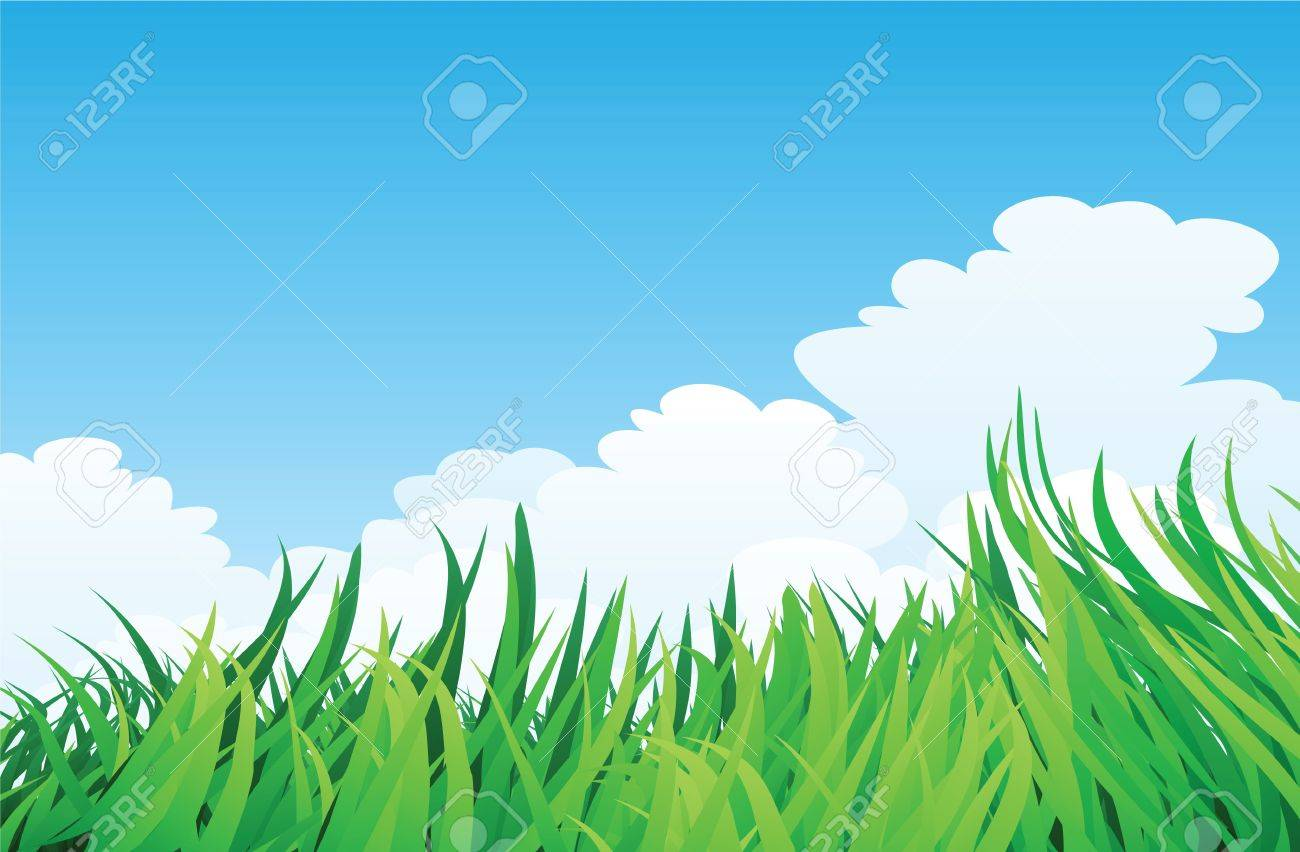 countryside illustration, green grass and blue sky. Stock Vector - 11822969