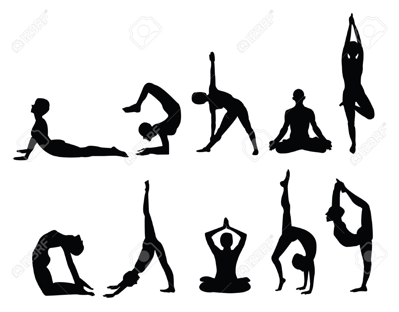 Yoga Pose Silhouettes, In Various Poses. Vector Format. Royalty ...