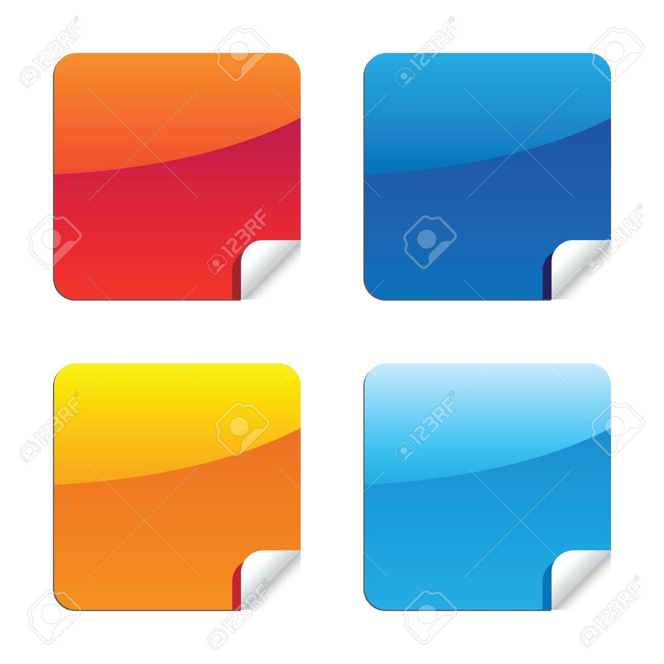 set of glossy shiny style label stickers with peeling corner effects Stock Photo - 13012306