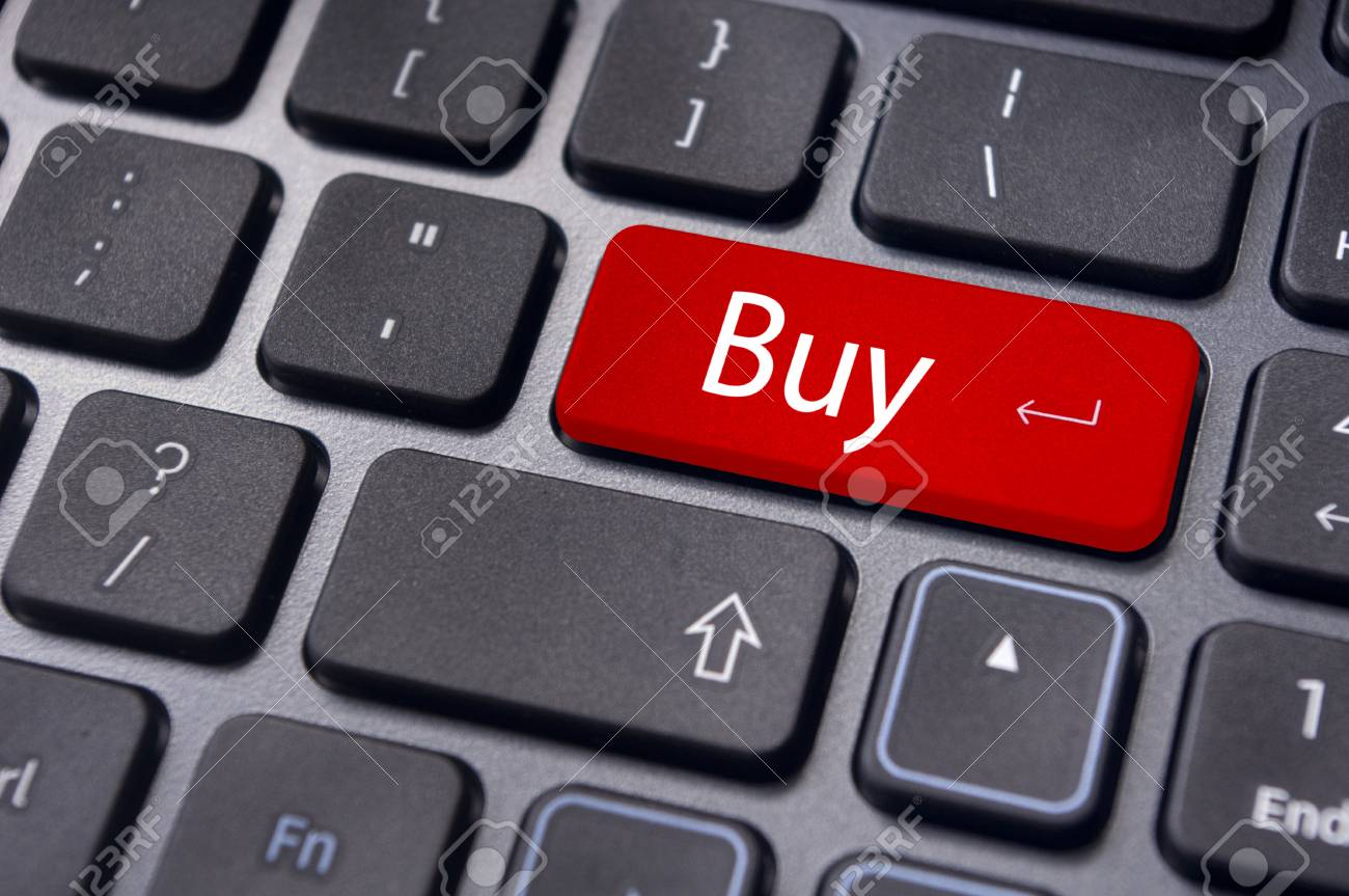 a buy message on keyboard key, for online shopping or stock market investment concepts. Stock Photo - 13314050