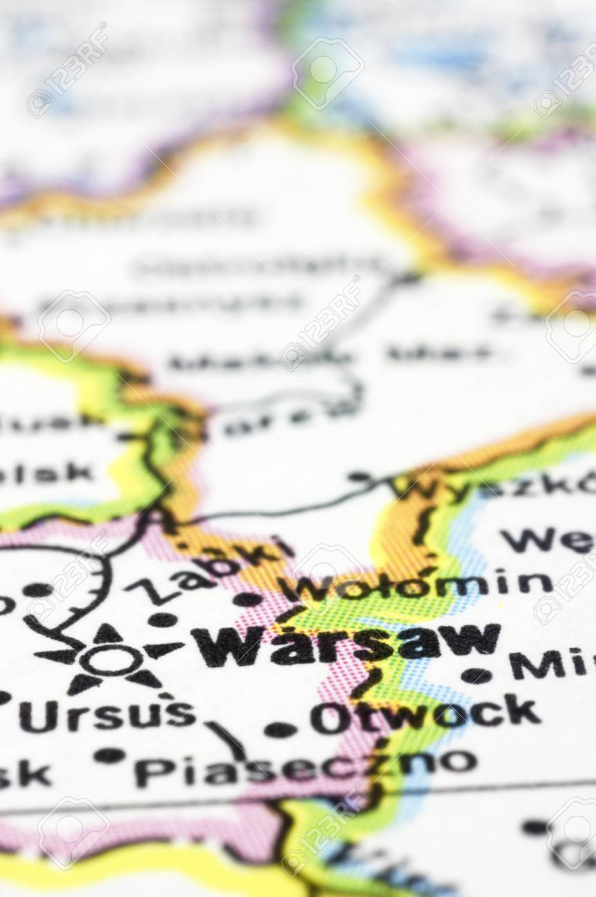Capital Of Poland Map.A Close Up Shot Of Warsaw On Map Capital Of Poland Stock Photo