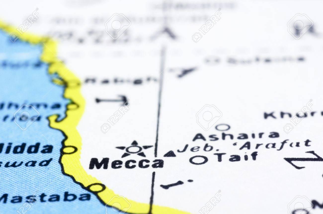 a close up shot of mecca on map, Saudi Arabia