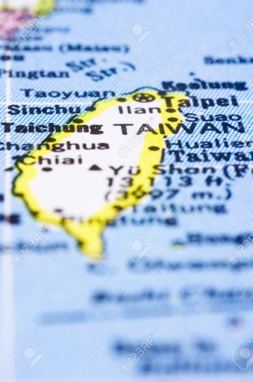 Asia Map Taiwan.A Close Up Shot Of Taiwan On Map Asia Stock Photo Picture And