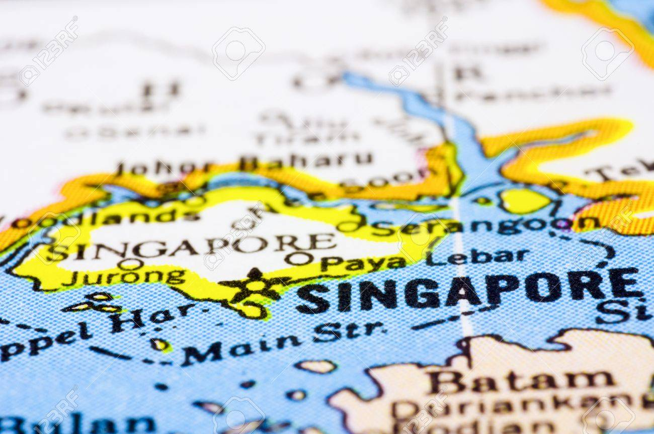 Singapore On The Map Of Asia.A Close Up Shot Of Singapore On Map Asia Stock Photo Picture And