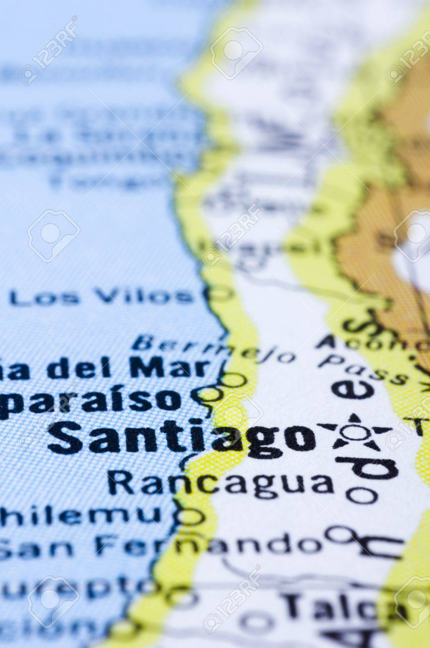 A Close Up Shot Of Santiago On Map Capital Of Chile Stock Photo Picture And Royalty Free Image Image 13314507