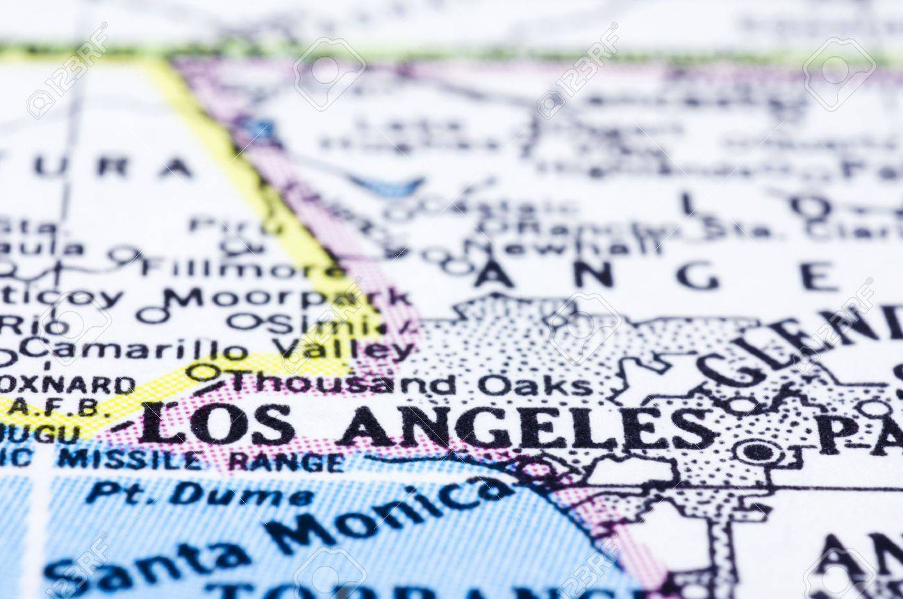 A Close Up Of Los Angeles On Map City Of United States Stock - Us map close up