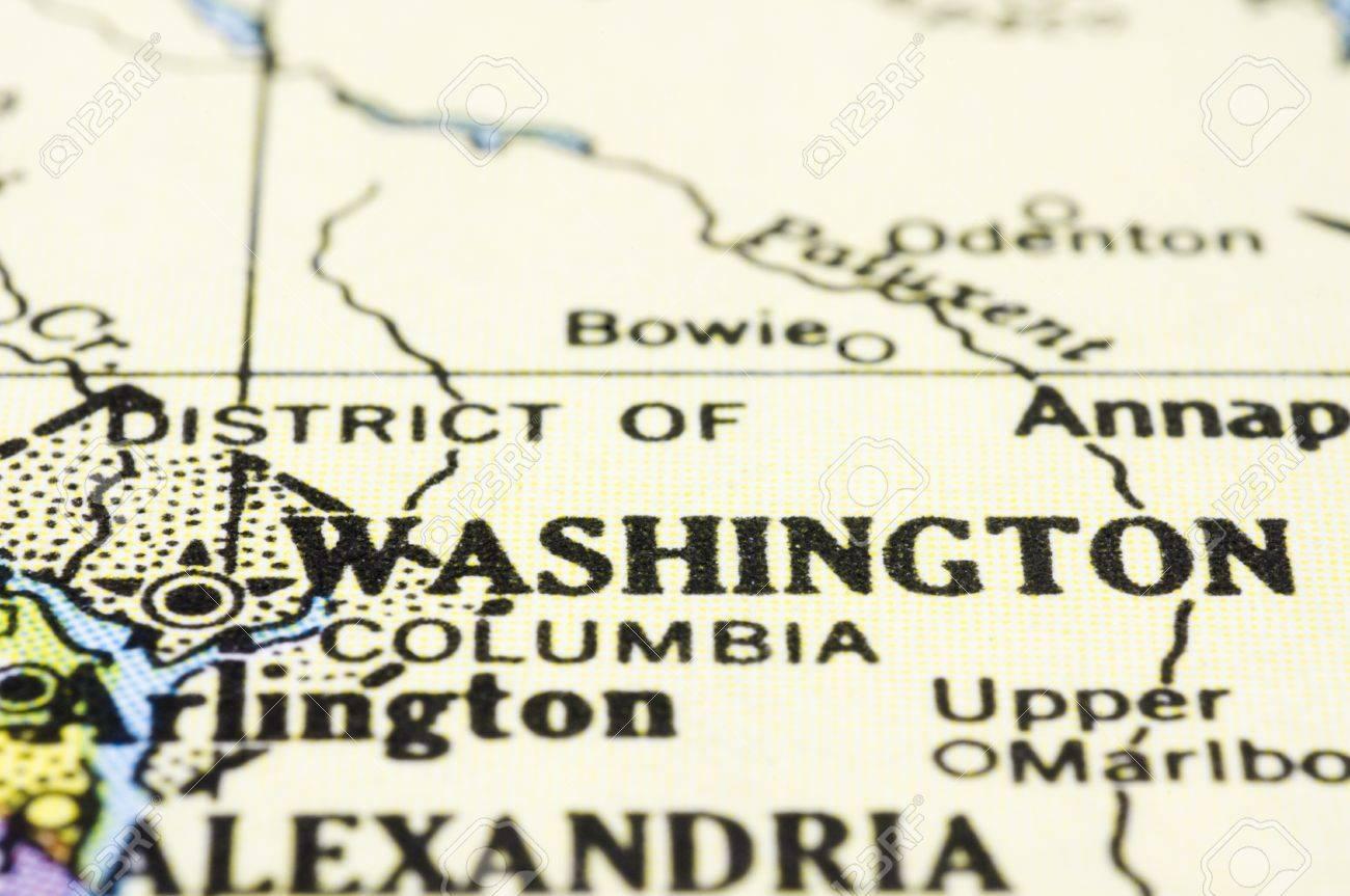 a close up of washington DC on map, united states.